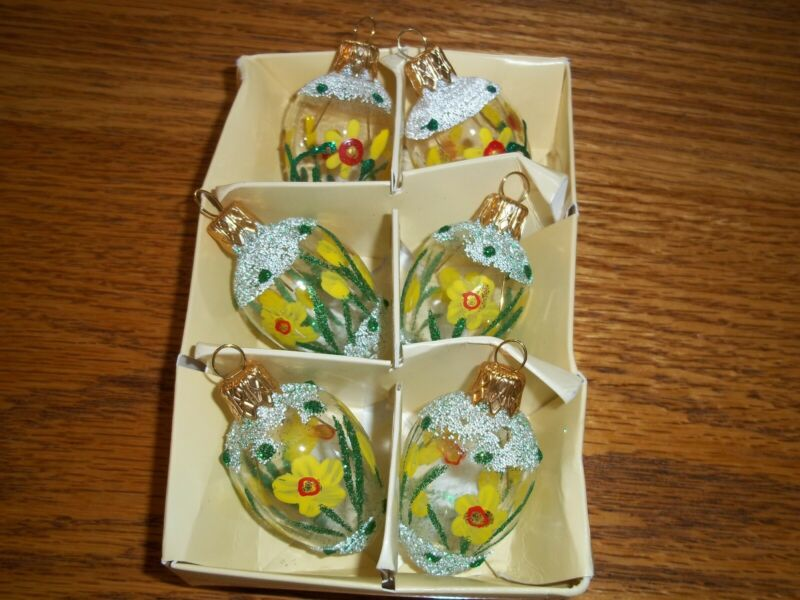 Set of 6 Small Handpainted & Decorated Glass Easter Ornaments from Poland