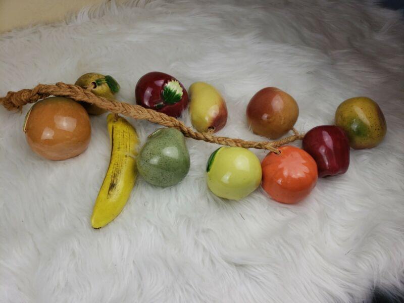 "Vintage Hanging RISTRA Ceramic Fruit On A Rope 29"" Long"