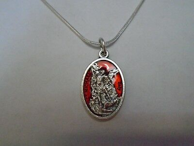 - St Michael Guardian Angel Red Medal Necklace 925 Sterling Silver Snake Chain 20