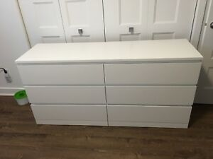Commode blanche 6 tiroirs Malm Ikea