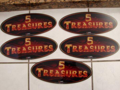 """Plexiglass 5 Treasures oval sm Casino Sign 13 1/8"""" X 5 1/4"""" X1/8"""" Lot of 5 SHFL"""