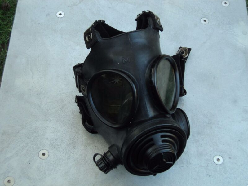 Military 40mm NATO Gas Mask w/Drink Port & Protective Hood, Size Med/Reg UNUSED