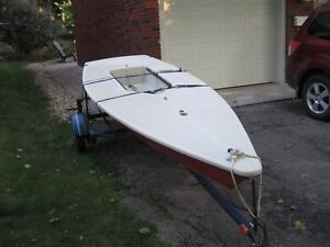 Laser one sailboat and trailer
