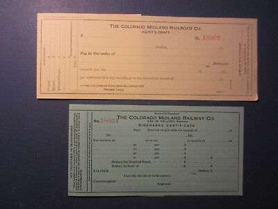 2 Old 1910's - COLORADO MIDLAND RAILROAD Documents - Agent's Draft - Discharge