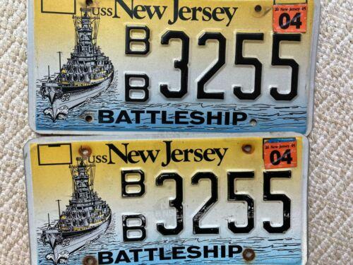 "2 NEW JERSEY BATTLESHIP GRAPHIC  LICENSE PLATES "" 3255 BB  ""  USS NJ  NAVY USN"