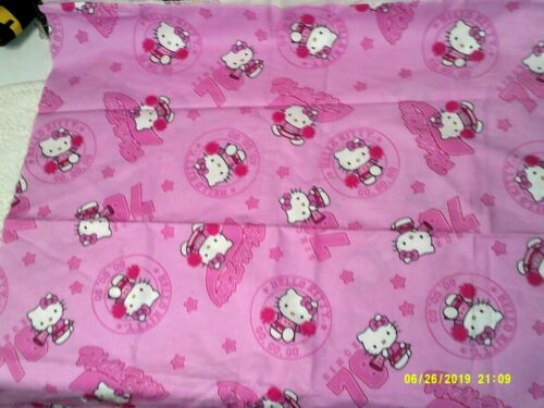 HELLO KITTY CHEERLEADER since 1976 Fabric PINK 100% Quilt Cotton SANRIO 42 x 22