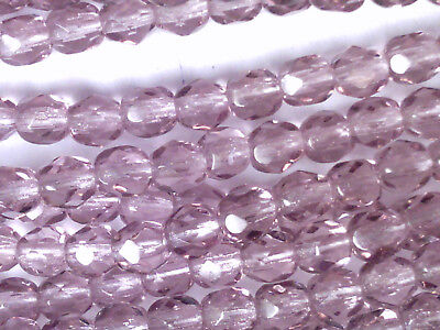 VTG 200 AMETHYST PURPLE FIRE POLISHED ROUND FACETED GLASS BEAD #110618t 4mm