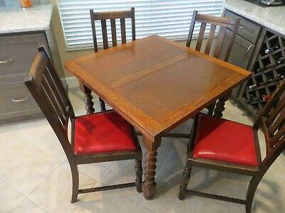 Antique English Oak Drawleaf Pub Table  with Four Chairs