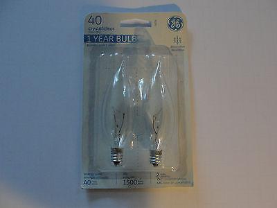 GE 2PK 40W Crystal Clear Decorative Light Bulb, 76236