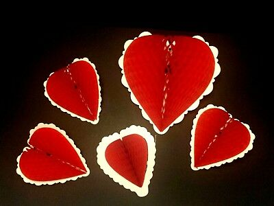 Set of 5 Vintage Fold Out Honeycomb Heart Valentine Decoration Love Wedding - Honeycomb Heart Decorations