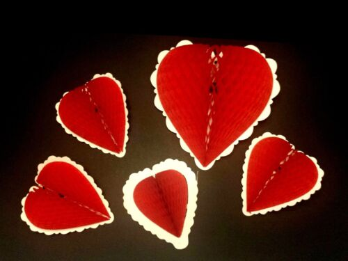 Vintage Fold Out Honeycomb Heart Valentine Decoration Love Wedding Set of 5