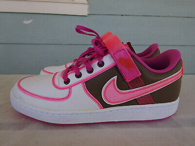 Nike Vandal Low 2008 Womens 9.5 Shoes Pink Pastel White Brown Leather 312492-263