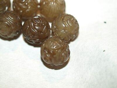 Vintage Carved Chinese Brown Serpentine Jade Round Bead Shou Design 12mm