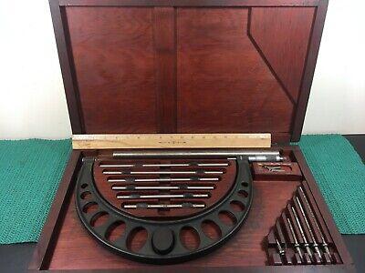 Rare Vintage Brown Sharpe Large Outside Micrometer In Original Wood Case