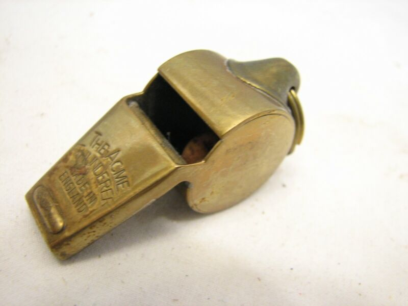 Vintage The Acme Thunderer Brass Military Police Trench Whistle Loud England