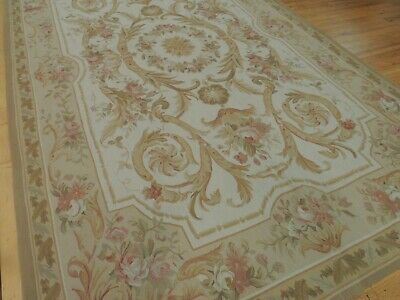 6x9 French Aubusson Style Area Rug Beige Gold Pink Green Floral Medallion wool Green Gold Area Rug