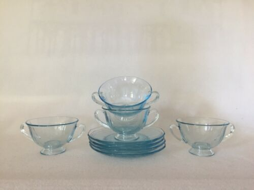 4 Fostoria Fairfax Azure Blue Footed Bouillon Soup Cups and Saucers