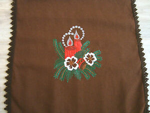 Table Xmas Christmas Tablecloth christmas table Embroidered vintage runner about runner Vintage brown