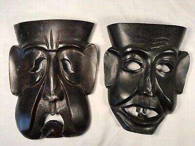Pair Vintage Carved Wood Comedy Tragedy MCM Tiki Art  Masks Wall Hangings - Comedy Tragedy Masks