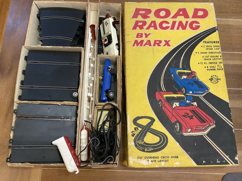 Rare original 1965 MARX Ford Mustang Road Racing SLOT Car Set #19450    complete