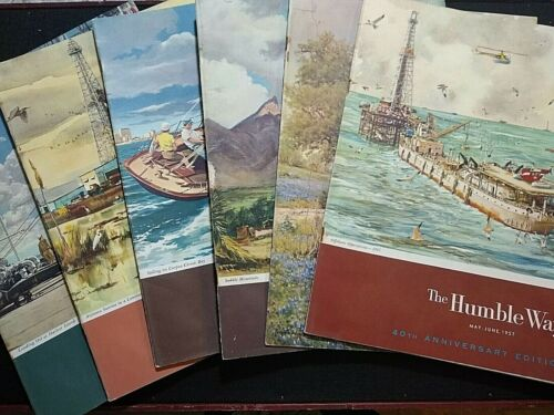 VTG Historical Humble Magazines 1957 Annual Set of 6 Featuring Texas History