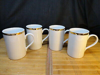 THE CELLAR CAPPUCCINO MUGS, Set of 4, White with Gold Trim, Fed. Dept. Stores