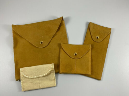 Bvlgari Tan Leather Suede Jewelry Travel Pouch Bag Set of 3 w/extra bag