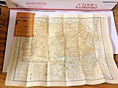 1924 Pennsylvania Road Map  Snyder Insurance Palmerton Vintage Calendar Brochure