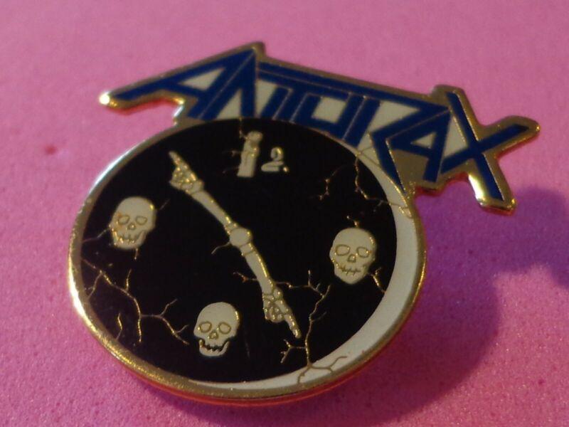 AnthraX Vtg Tour Hat Pin Brockum Licensed Metal Enamel Pinback Hard Rock Skulls