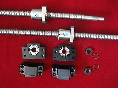 2 Cnc Anti Backlash 25mm Ballscrew Rm2505-473727mm-c72 Set Bkbf15 End Bearing