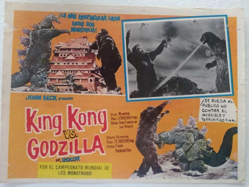 King Kong Vs Godzilla Lobby Card From Mexico