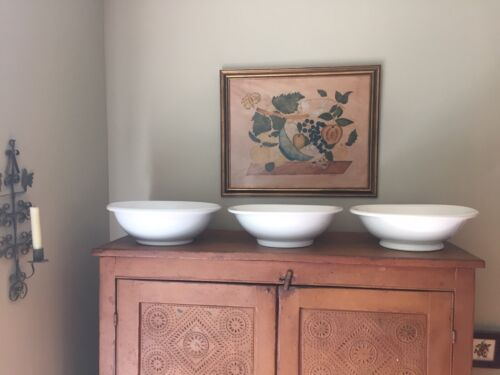 3 Antique White Ironstone Basins / Bowls  Meakin, C.S. Co., Unmarked - Farmhouse