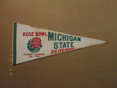 NCAA Michigan State Vintage 1988 Rose Bowl Big Ten Champs Logo Football Pennant
