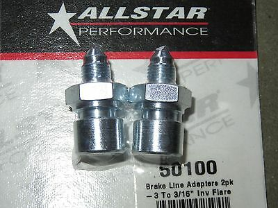 AllStar Steel Brake Line Adapter  3 AN To 316 Inverted Flare 2pk ALL50100