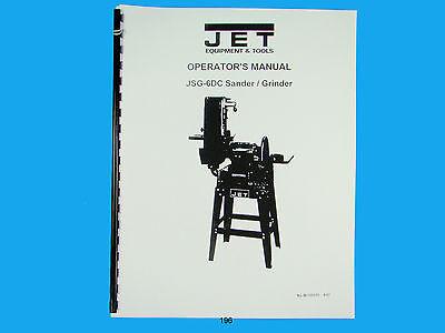 Jet  Jsg-6dc Discbelt Sander Owners Manual 196