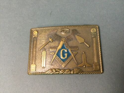 Vintage  Masonic Belt Buckle Brass Metal Freemasons Harry Klitzner Enameled!