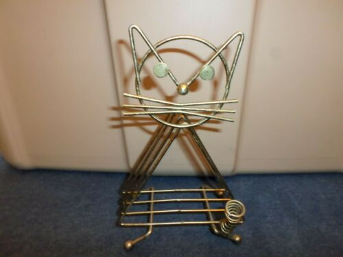 Mid Century Triangle Shape Wire Cat Letter and Pen Holder