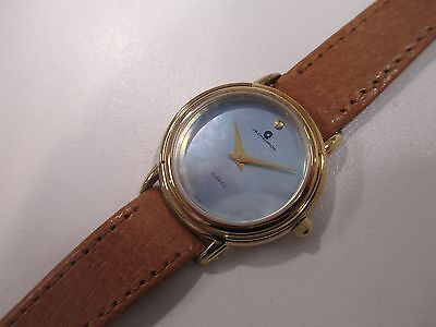 A13 NEW JB CHAMPION Gold Dress MOP Leather Band WATCH VINTAGE Women's Quartz