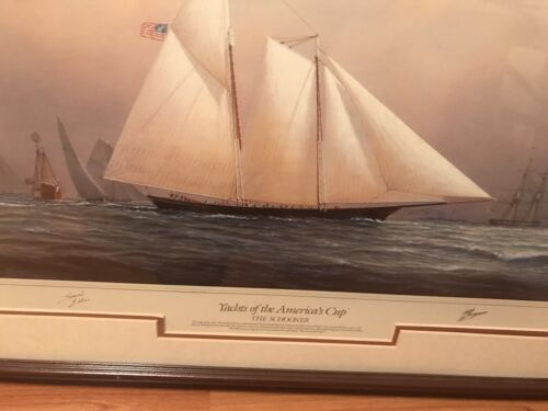 Yachts Of The America s Cup Print By Tim Thompson 31 By 25 Good Condition - $135.00