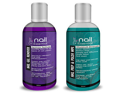 Prep Polish (Nail Essential Gel Polish Prep + And Wipe & Remover UV LED Manicure Acetone 250m)
