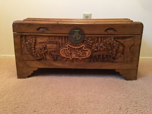 ANTIQUE HAND CARVED CHINESE CHEST WITH CAMPHOR LINING IN EXCELLENT CONDITION