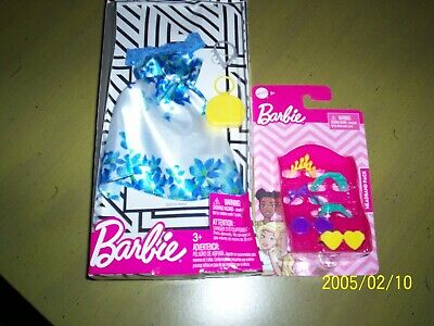 # 64 B NEW MATTEL BARBIE WHITE AND BLUE FLORAL DRESS AND ACCESSORIES