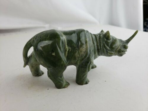 Chinese Green Jade Carved Rhino, Vintage #2