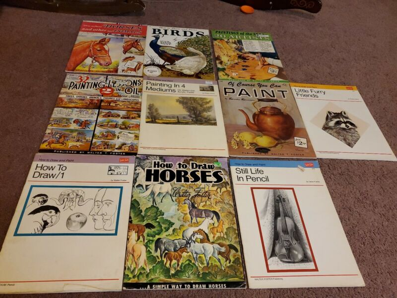 Lot of 10 vintage Walter T. Foster How To Draw & Paint Art Books