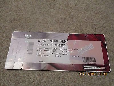 Wales v South Africa Saturday 26th November 2016 Match Ticket