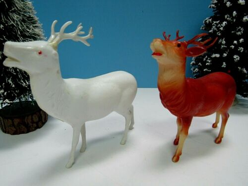 "VTG BUCK REINDEER 2-LOT - ONE IS 4"" CELLULOID (USA) & ONE IRWIN 4.5"" ALL PLASTIC"