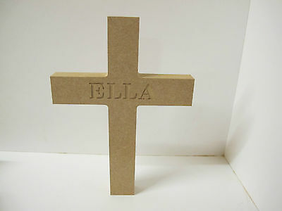 PERSONALIZED Wooden Cross Freestanding 200 mm High 18 mm Thick
