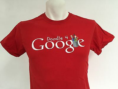 Doogle 4 Google Small Red T Shirt Paint Art Brushes Graphic Tee Search Engine