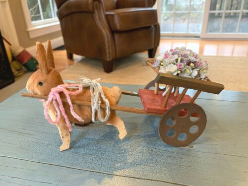 Putz Rabbit Pull Cart On Wheels Germany Paper Mache Wood Antique Easter Bunny