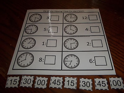 Fill In the Missing Minutes Laminated Educational Game. Pre-K thru Kindergarten.